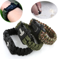 Men's Paracord Survival Bracelet Camping Outdoor Rescue Parachute Cord Wristband Flint Fire Starter Buckle Whistle Compass Kits