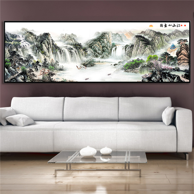 Oil-Painting Decoration Scenery Mountain-Poster Wall-Art Landscape Canvas Print Living-Room title=
