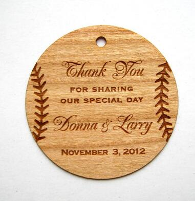 US $277 16 OFFPersonalized Baseball Thank You Rustic Wedding Wooden gift  Favor tags Labels invitations party bridal shower accessory-in Cards