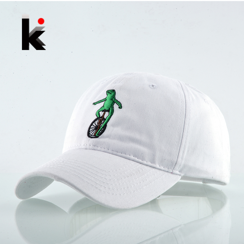 Frog Kermit Riding Wheelbarrow Embroidery Cotton Dad Hats Snapback Baseball Cap For Men Women Drake Gorras Mujer Casquette Girls mb barbell atlet 35кг