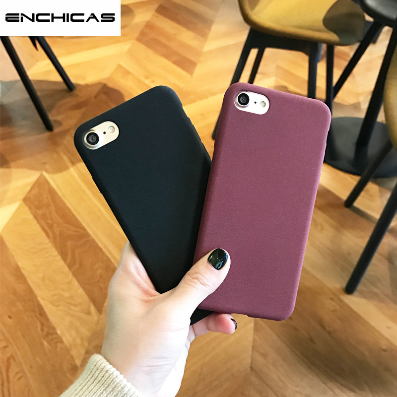 ENCHICAS Fashion Simple Full Matte Slim-Fit Flexible TPU Case for iPhone X 7 8 6 6S S Plus Shock Scratch Resistant Phone Cover