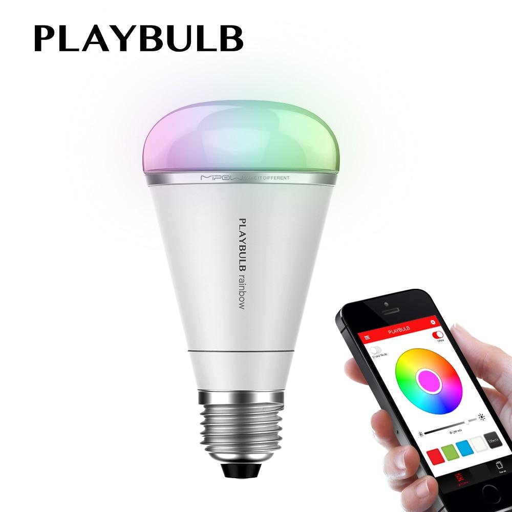 Smart Stylish RGB Color Changing LED Light Bulb Lamp Decorative Multi Colors Remote Control MIPOW PlayBulb Rainbow 5W E26 E27 mipow e27 bluetooth 4 0 smart led bulb wireless app control 100 240v