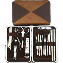 16pc Nail Art Tool Manicure Kit Pedicure Set Nail Clipper Trimmer Scissor with Case for A Gift