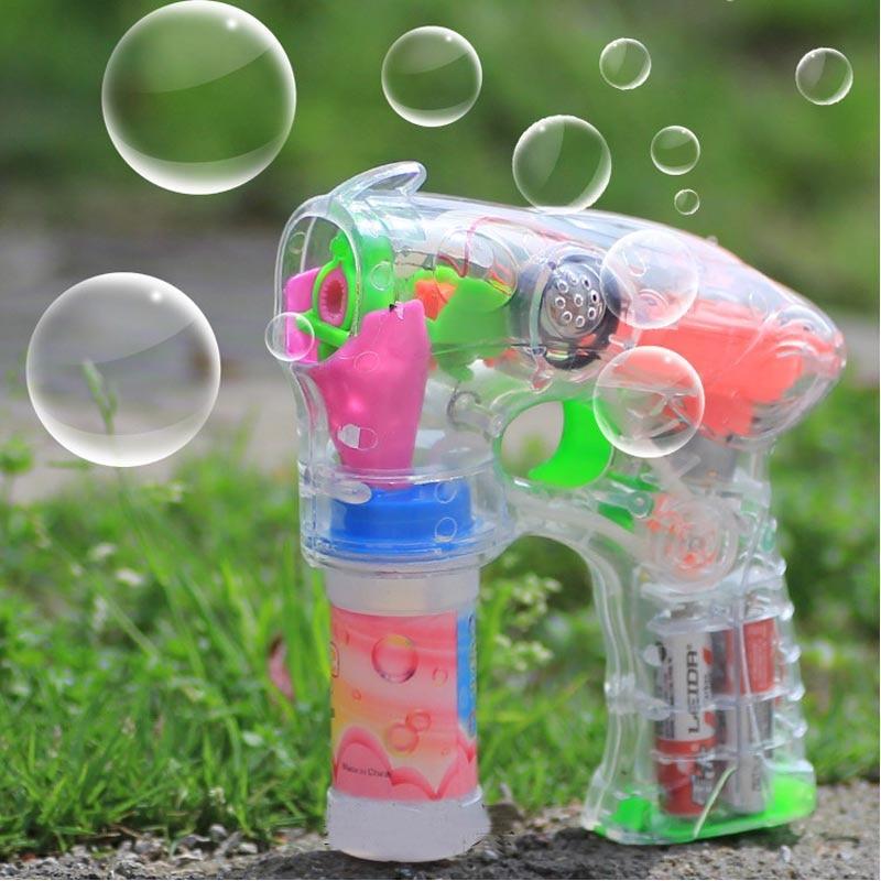 Electric Bubble Gun Automatic Bubble Machine Music Flash Bubbles Water Gun Rainbow Bubbles Kids Children Outdoor Toys