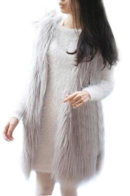 Women Faux Fur Gilet Vest Jacket Mid-long Outwear Waistcoat Gray M