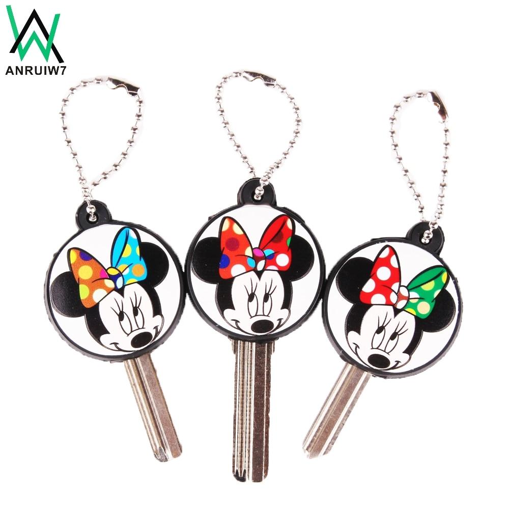 Cartoon Anime Cute Mickey Key Cover Cap Protect Silicone Minnie Keychain Women Owl Stitch Bear Hello Kitty Key Chain Porte Clef