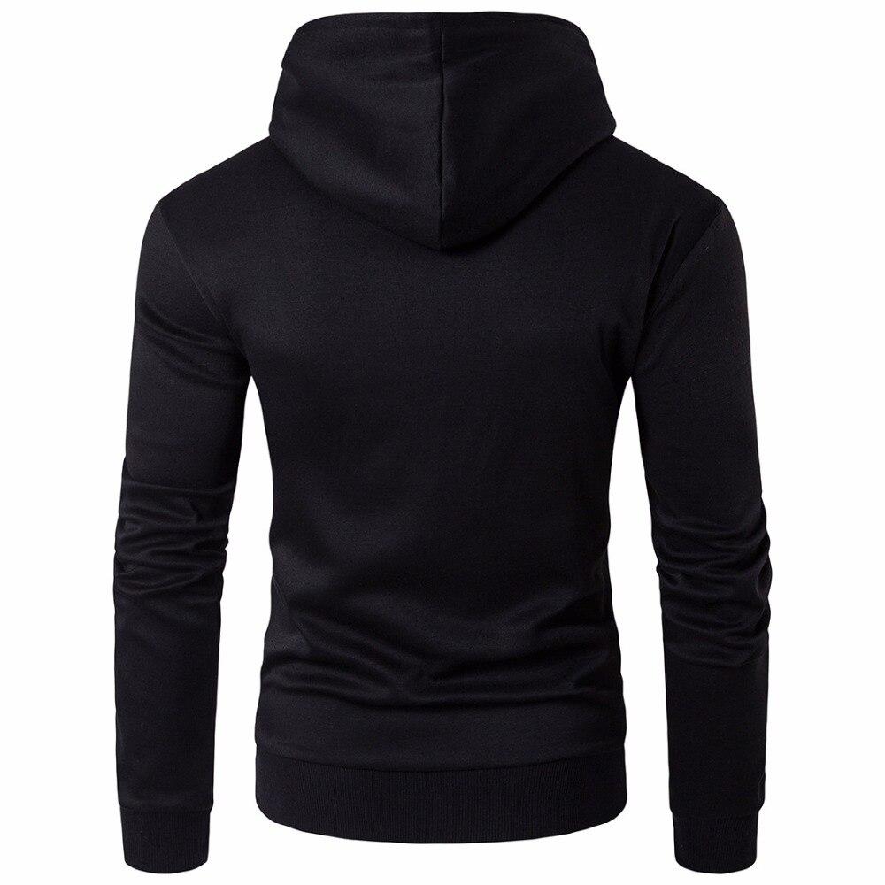 2019 модные толстовки с капюшоном Для мужчин Толстовка Топ пуловер Блузка Hombre хип хоп Для мужчин s Черный Толстовка с капюшоном на молнии Slim Fit Мужская толстовка - 3