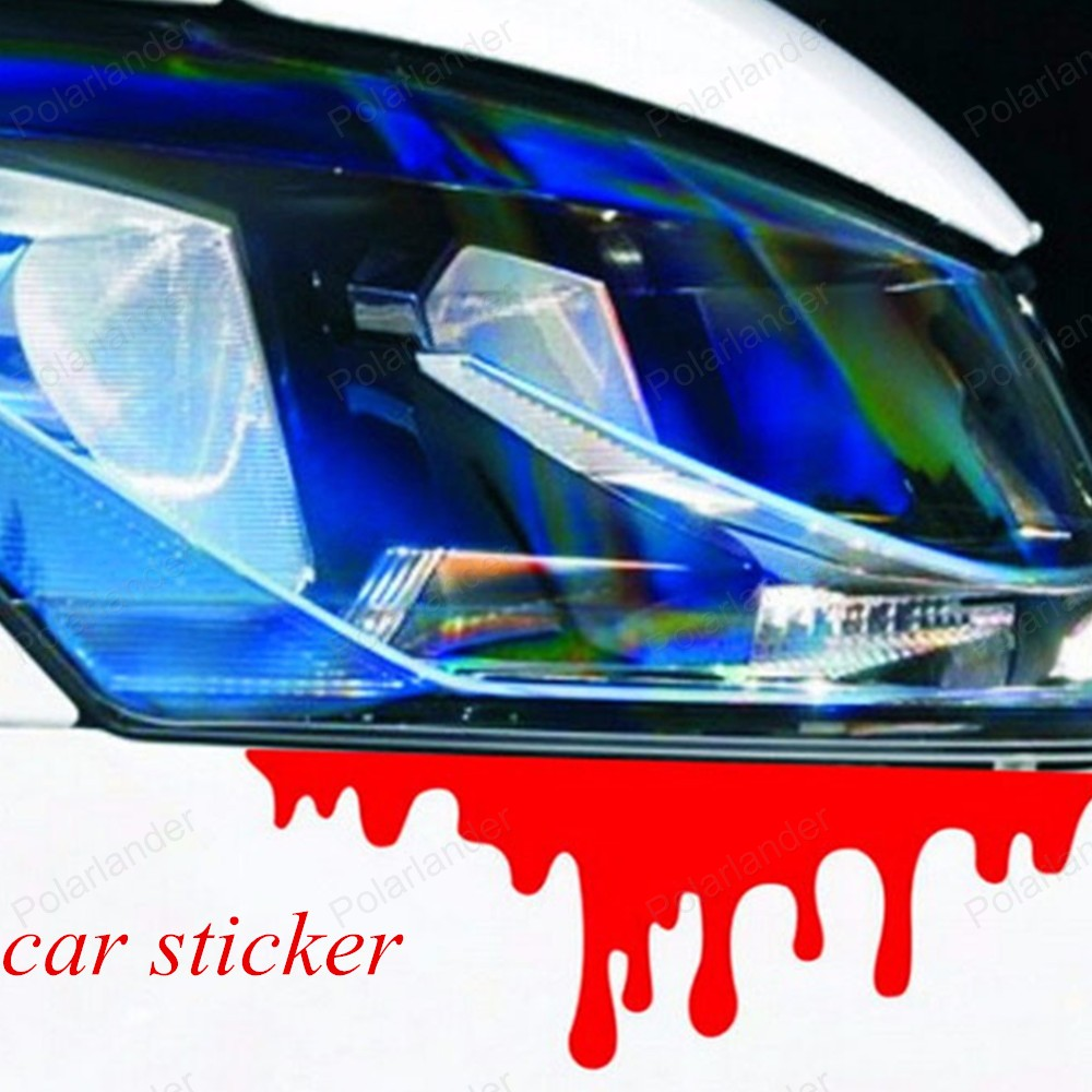 Car body sticker design for sale - Big Sale Reflective Car Decals Rear Front Headlight Sticker New Design 2016 Hot Blood Bleeding Car