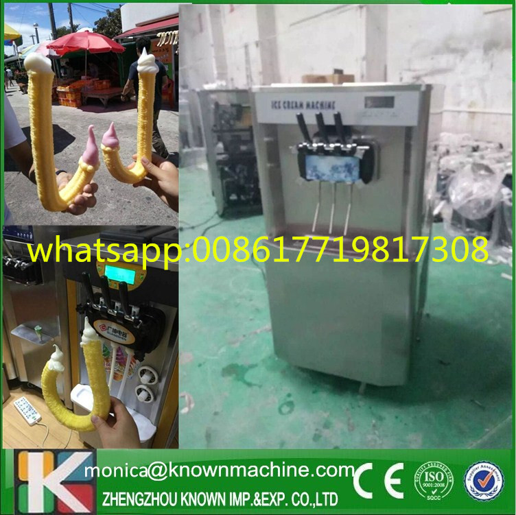 Stand type ice cream maker machine for filling crutch cone Stand type ice cream maker machine for filling crutch cone