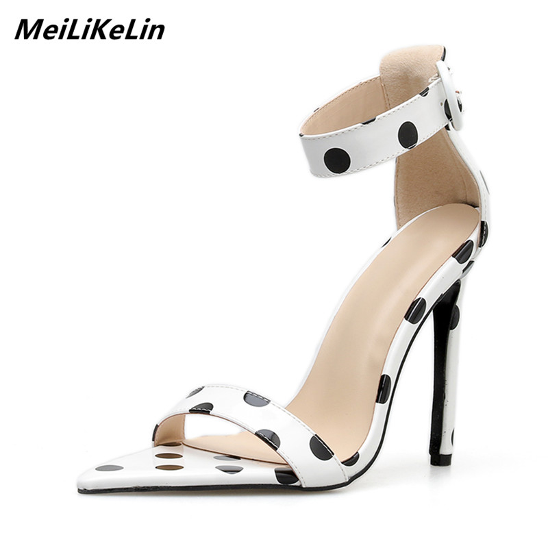 b85c24bc0e4a47 MeiLiKeLin Women White Sandals Polka Dot Sexy Point Toes Super High Heels  Womens Shoes Summer Sandals