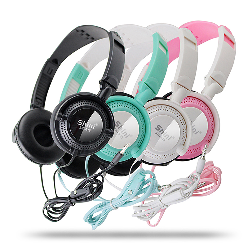 Shini A18 Stereo Headphone 3.5mm Earphone Noise Isolating Headset with Microphone for all phone fone de ouvido
