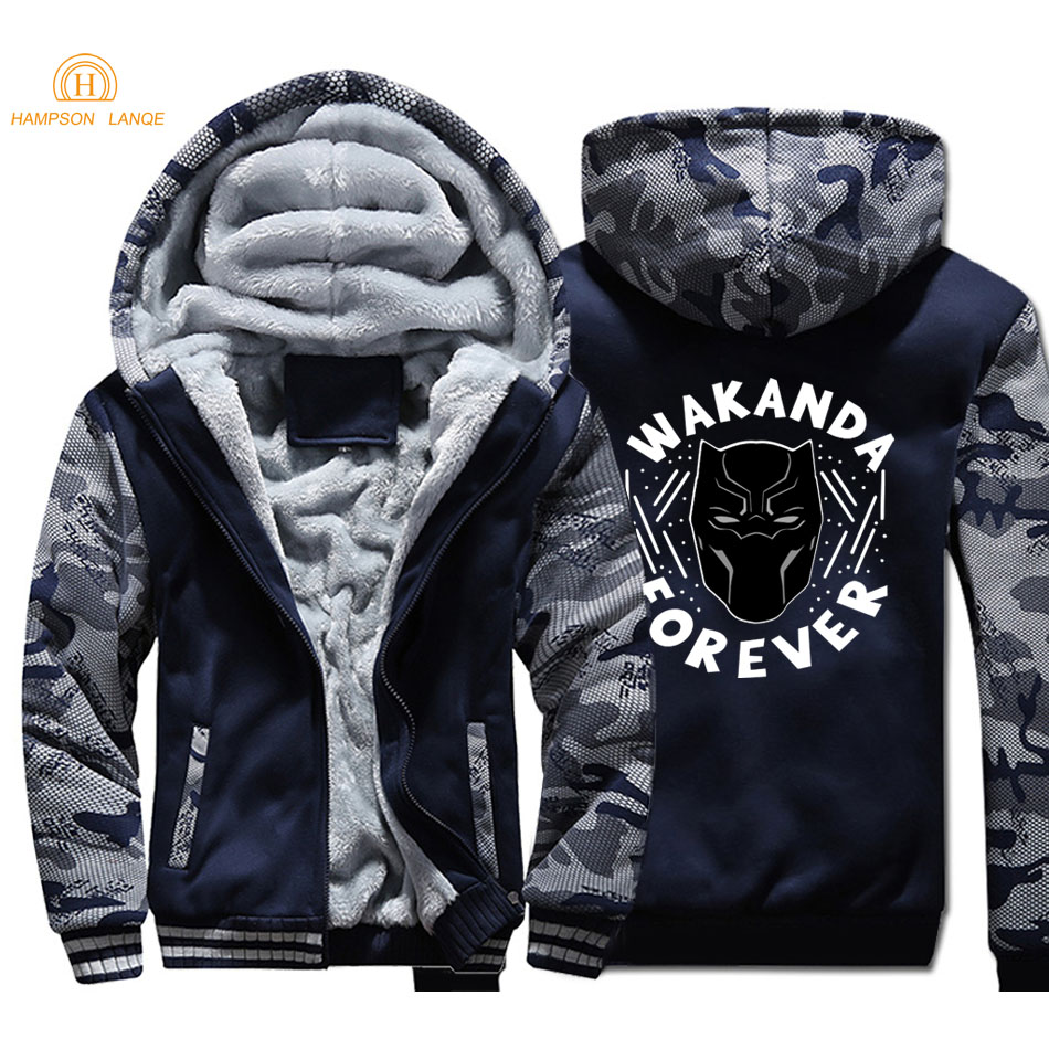 Black Panther Hoodies Men 2019 Hot Autumn Winter Style Super Hero Thick Camouflage Hoodie Men's Brand Jackets Hip Hop Streetwear