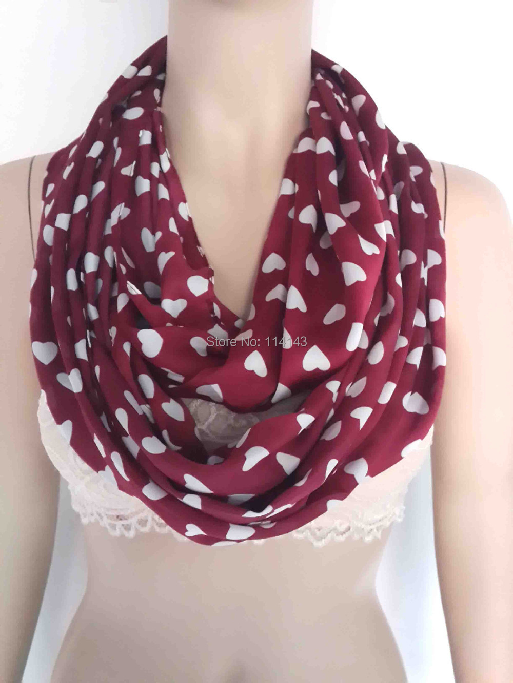 10pcs/lot Love Heart Print Infinity Loop Scarf Silk Feeling Women's Accessories Valentine's Gift, Free Shipping