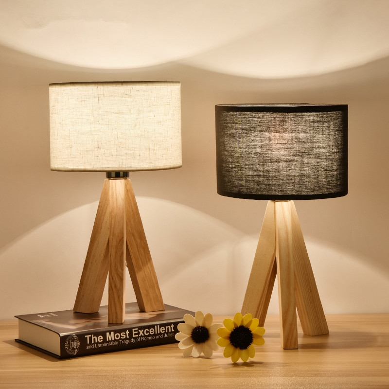 LED Wooden Table Lamp Fabric Lampshade Wood Bedside Desk lights Modern Book Lamps E27 110V 220V Reading Home Lighting Fixtures botimi wooden table lamp with fabric lampshade bedside desk lights lamparas de mesa book lamps deco luminaria reading lighting