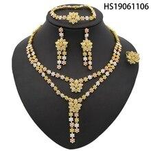 Yulaili 2019 New Wholesale Dubai Crystal Jewelry Sets Tricolor Flower Pendant Necklace Bracelet Earring Wedding Jewellery