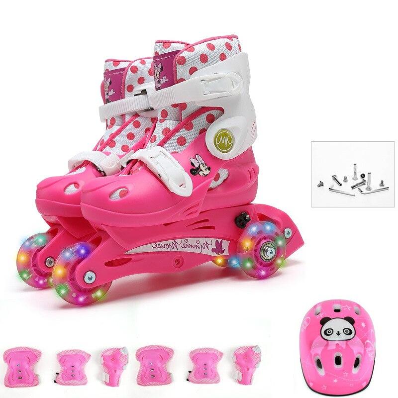 Дети Прекрасный стабильный баланс слалом параллельный мигает Ice роликовые коньки обувь сдвиг на встроенный регулируемый защиты от падения