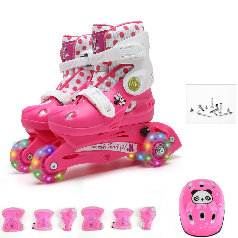 Kids Children Lovely Stable Balance Slalom Parallel Flashing Ice Skate Roller Shoes Shift to Inline Adjustable Fall Prevention