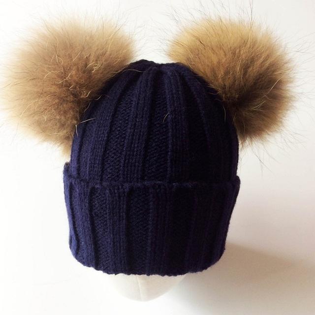 2017 Baby Girl Sombrero de Mapache Dos Bolas Caps Para Bebé del Invierno Sombreros de Los Niños Gorras