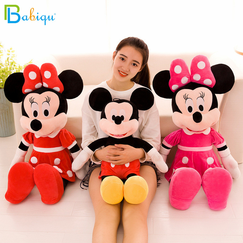 40-100cm Cute Mickey Mouse And Minnie Mouse Plush Toys Stuffed Cartoon Figure Dolls Kids Baby Christmas Birthday Gift