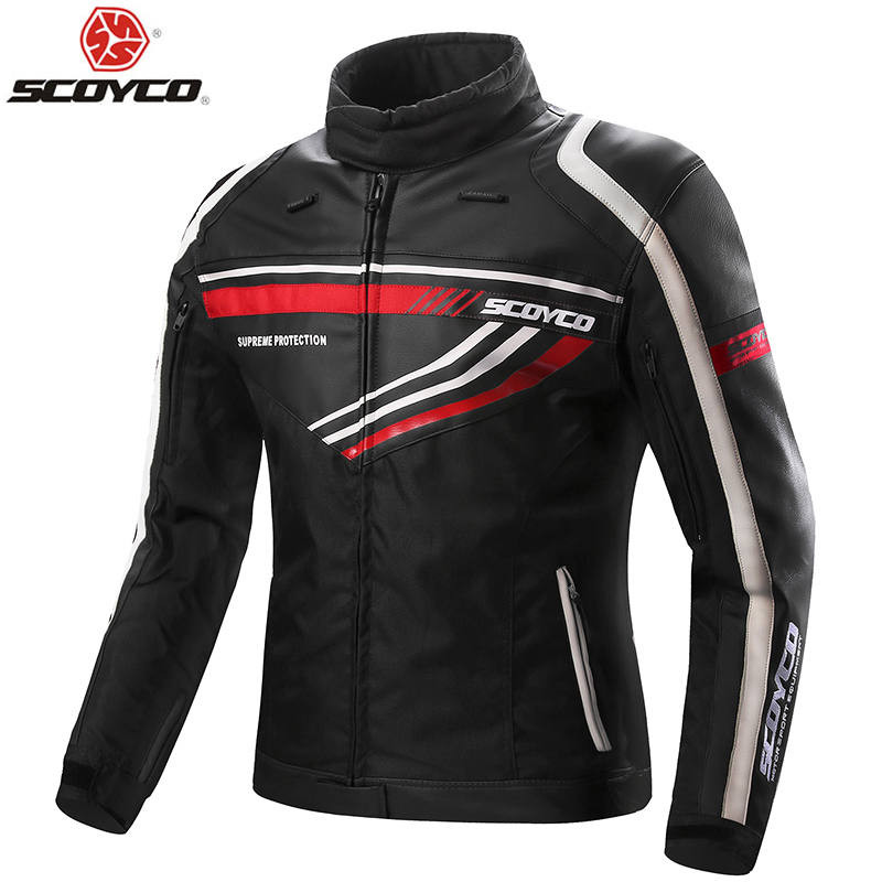 SCOYCO moto veste en cuir synthétique polyuréthane avec 7 pc Protection complète du corps engrenages vêtements Motocross quatre saisons coupe-vent armure d'équitation JK37