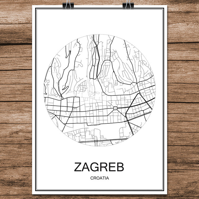 Living Room Zagreb online shop zagreb croatia modern black white world city map print