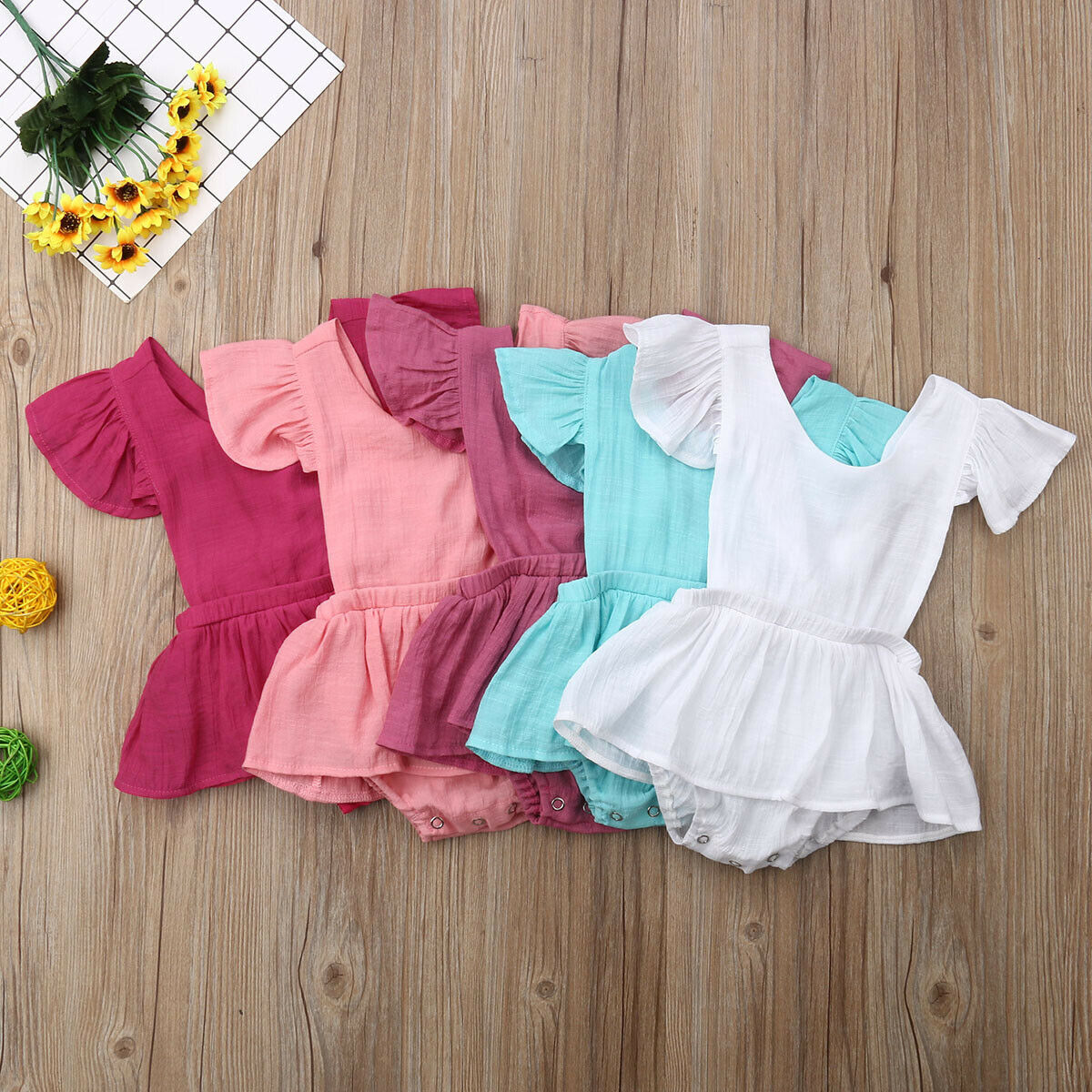 Cute Newborn Infant Baby Girl Ruffle Sleeveless Backless   Romper   Solid Jumpsuit Skirt Clothes Outfits