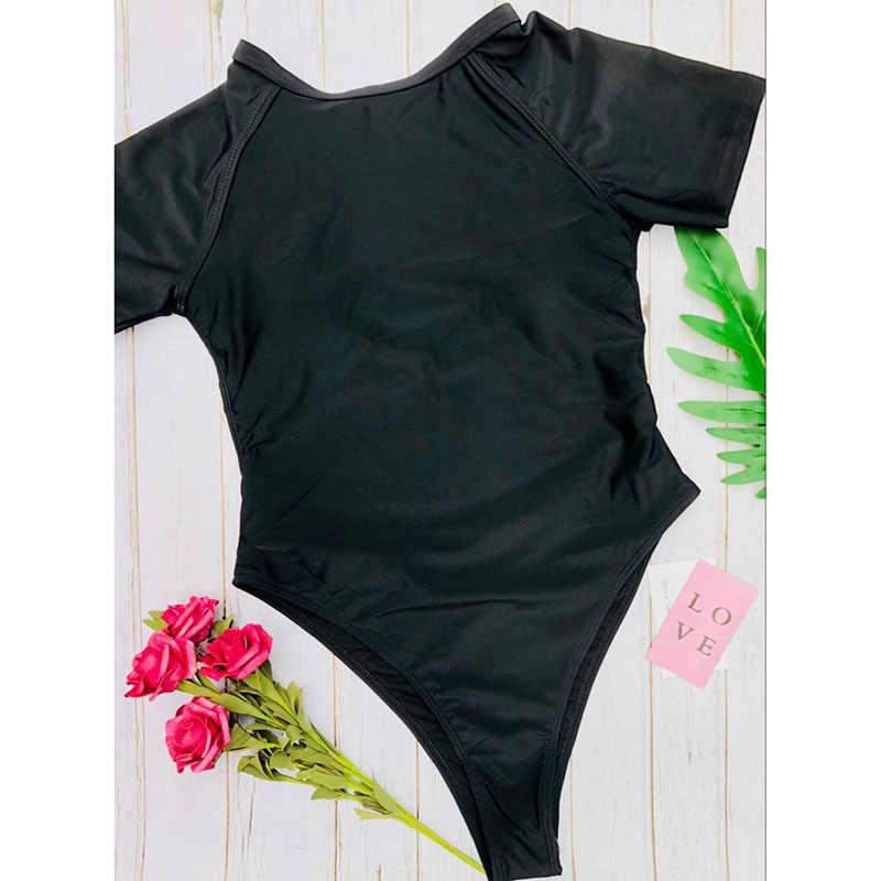 Pacento Lengan Satu Kepingan Baju Renang 2018 Baju Renang Wanita Tanpa Bagian Belakang Olahraga Kostum Intero Donna Monokini Badpakken Vrouwen
