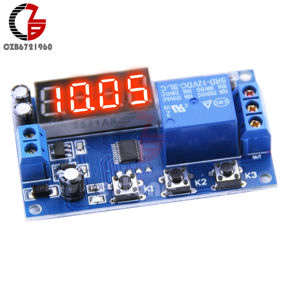 Countdown Time Delay Relay Module Dc 12v Led Digital Timer Control Switch Plc Timing