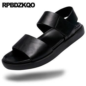 Slides Flat Flip Flop Nice Designer Slippers Strap Men Soft Beach Shoes Mens Sandals 2018 Summer Outdoor Brown Leather Slip On