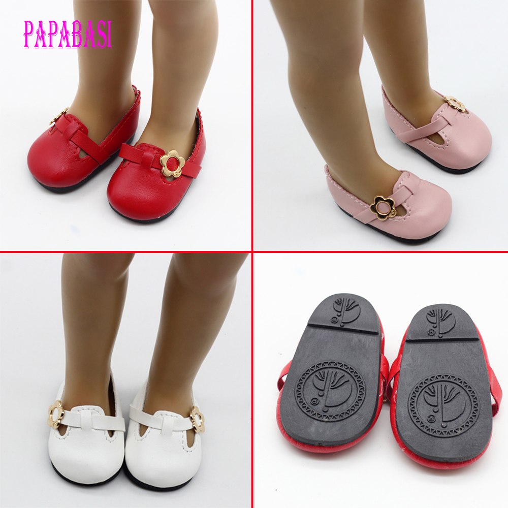 Hot 2016 new style popular 18 inch heels American girl doll shoes PU leather shoes