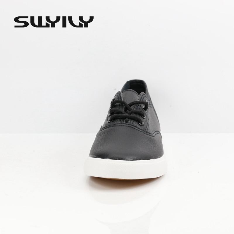 Women Genuine Leather Flat Canvas Tennis Shoes  3