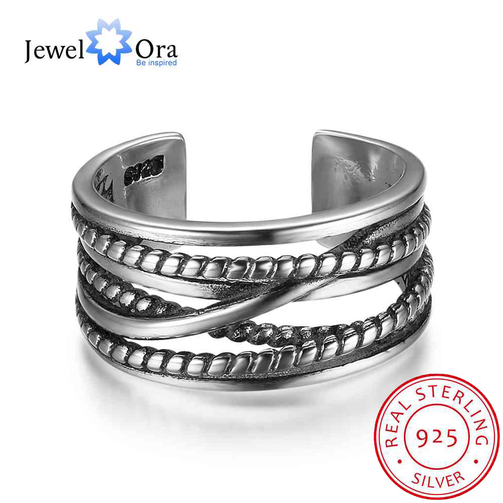 New Women Real 925 Sterling Silver Ring 10mm Multi Layer Winding Twist Open Ring Vintage Style