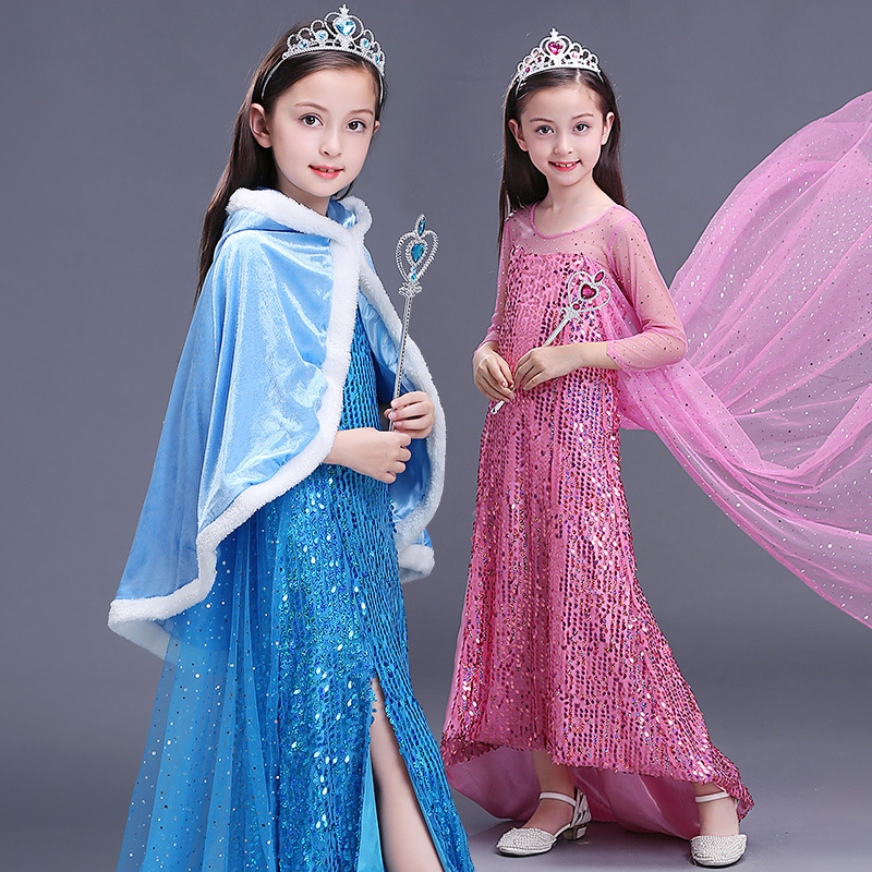 2018 Children Fancy Girls Snowflake Fantasia Elsa Costume Kids Carnival Party Snow Queen Sequin Dress Baby Girl Winter Clothes trendy kids costumes girl maid cosplay fancy dress stage performance clothes children fantasia carnival costumes