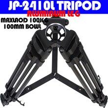 100kg de carga útil de 24mm de diámetro de tubo patas de aluminio trípode de cámara de vídeo profesional con bolsa de transporte para 100mm cabeza de fluido de tazón