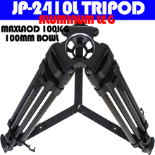100kg payload 24mm pipe diameter Aluminum legs Professional Video Camera Tripod Stand with Carry Bag for 100mm Bowl Fluid Head