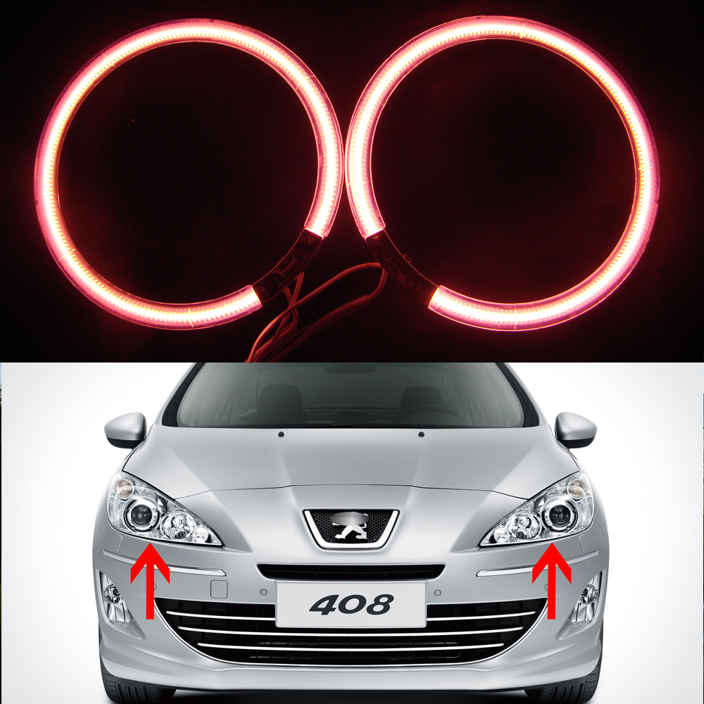 2 Pcs Car Angel Eyes Auto Halo Rings for Peugeot 408 2010 2011 2012 2013 CCFL Angel Eye Car Headlight 7000K Xenon White for uaz patriot ccfl angel eyes rings kit non projector halo rings car eyes free shipping