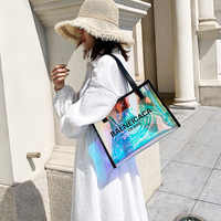 Mode tendance laser sac à main sacs de plage étanche femmes été 2019 sac transparent pvc femme dames sac à bandoulière femme de luxe