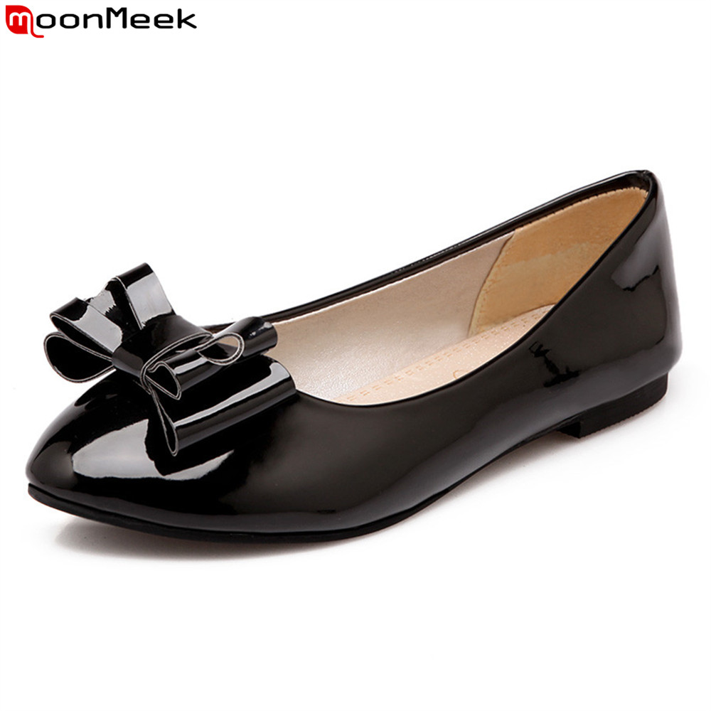MoonMeek 2018 spring summer pointed toe square heels slip on low heels with butterfly knot sweet shallow women pumps 2017 spring women retro pumps solid slip on sweet butterfly knot round toe med square thick heels shallow female shoes plus size