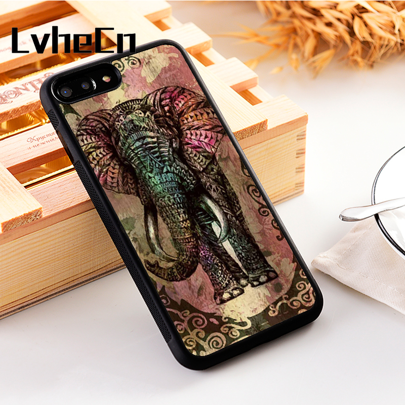 LvheCn 5 5S SE phone cover cases for iphone 6 6S 7 8 Plus X Xs Max XR Soft Silicon TPU Beautiful Art Elephant Patterned Abstract