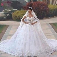 Vintage Lace Appliques Princess Arabic Ball Gown Wedding Dresses with Cap Sleeves Dubai Sweetheart Neckline Bride Dress JQ182