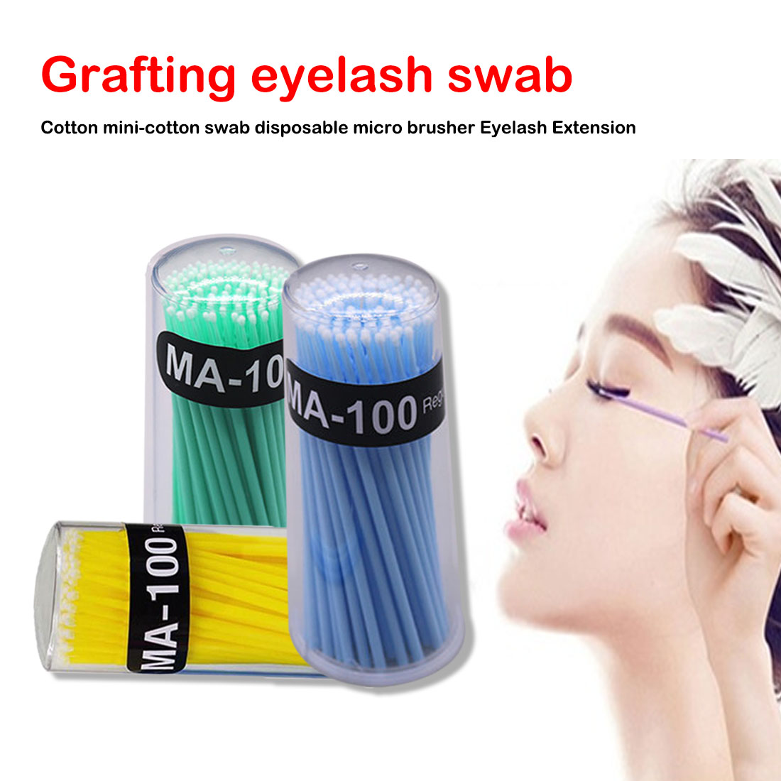 100 Pcs/Pack Micro Brush Disposable Microbrush Applicators Eyelash Extensions Remove False Eyelashes Cotton Swab