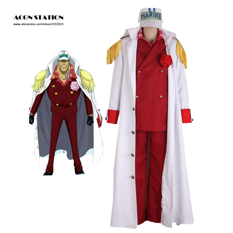 Free Shipping Anime ONE PIECE Cosplay Costumes Akainu Sakazuki Borsalino Sengoku Halloween Justice White Navy Cosplay Uniforms
