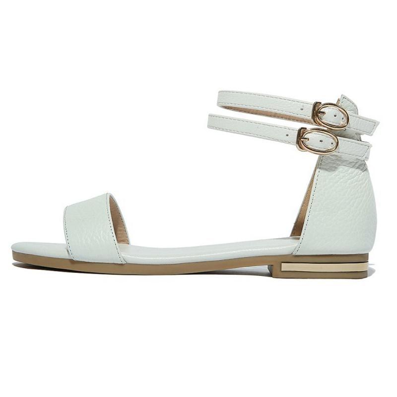 Femmes Plage Noir D'été 46 Taille Sandales blanc Sangle Chaussures Véritable Sexy Couleur Carzicuzin Cheville Cuir bronze 33 En Solide nxIEa8qRz