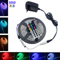 RGB LED Strip light 5050  IP20 no Waterproof 60LEDs/m 5m/roll led light led tape diode 44k controller DC 12V 3A adapter