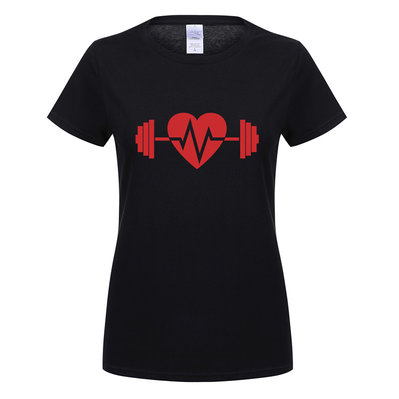 New Funny Heart Love Gymer T Shirt Short Sleeve O-Neck Cotton Casual Crossfit Women T-shirt Girls Woman Tshirt OT-951