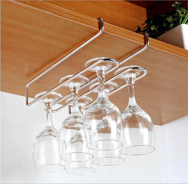Stainless Steel Hanger Rack Red Wine Cup Hanging Hook Glass Storage Rack  Kitchen Bar Cabinet Hook