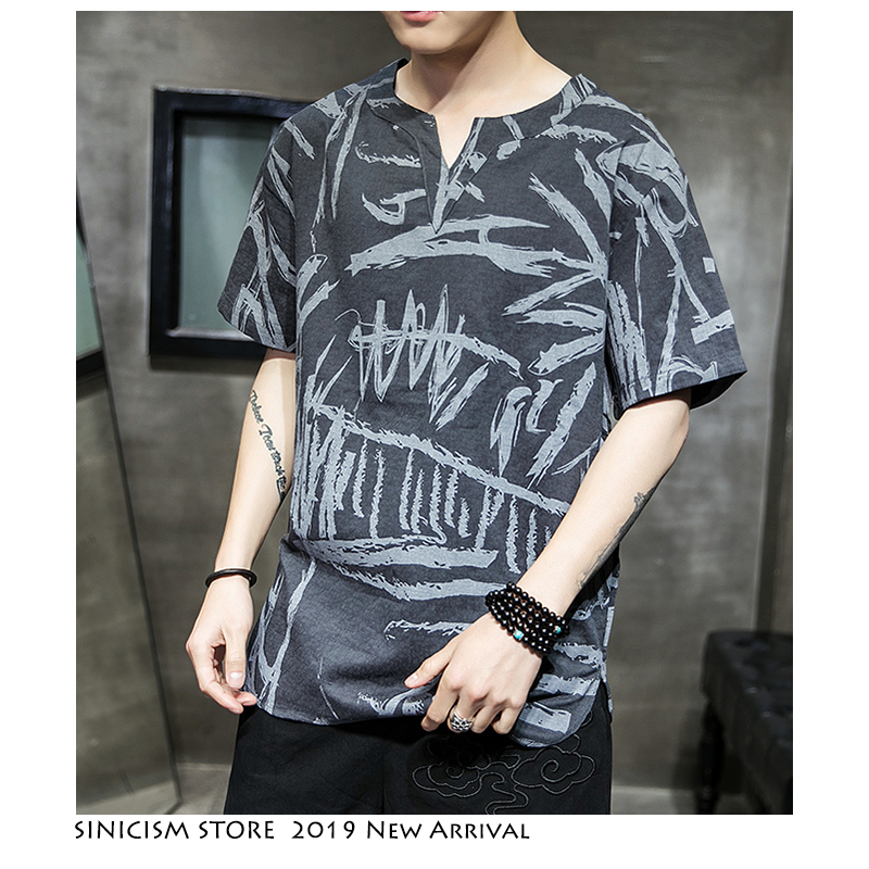 Sinicism Store Men Summer Tshirts Mans 2019 Casual Streetwear Men T-shirts Chinese Style Male Cotton Linen V-Neck T Shirts 5XL