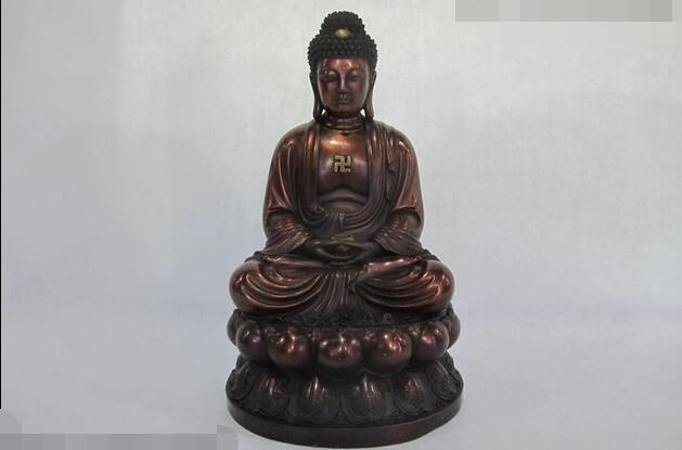 "16 ""Bouddhisme Chinois Pur Cuivre Rouge Bronze Tathagata Sakyamuni Bouddha Statue"
