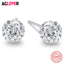 2018 New Real 925 Sterling Silver Stud Earrings Round Zircon CZ Fashion Jewelry Crystal for Women Men