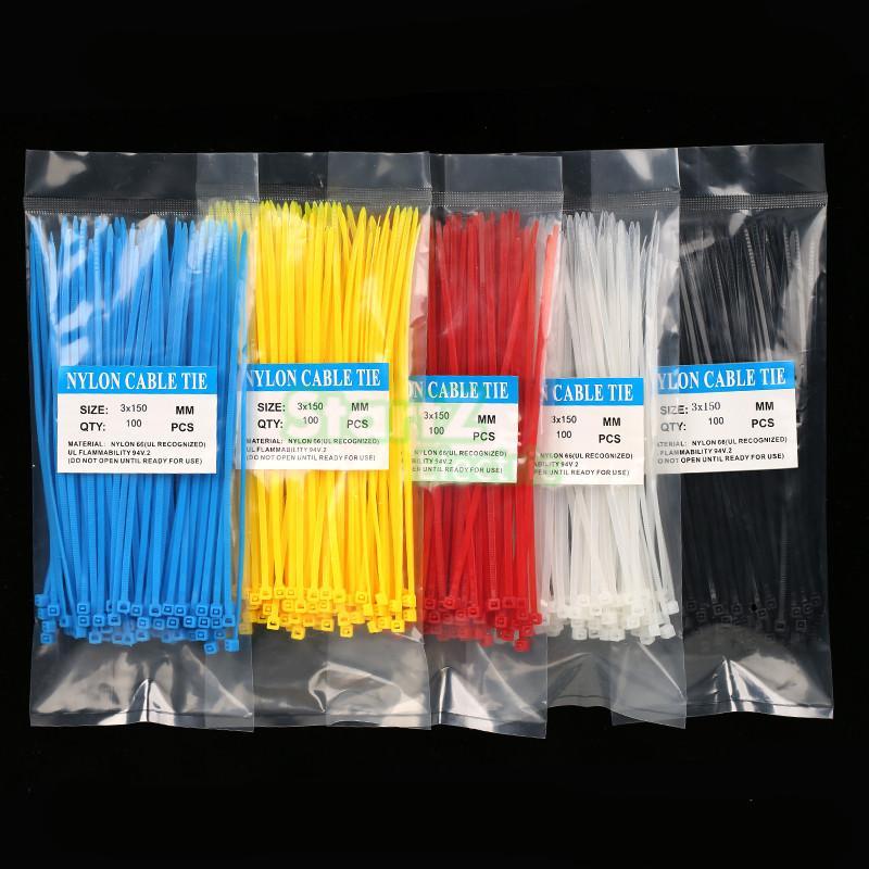 39cbe9789 100 قطعة/الحقيبة 3X150 ملليمتر الذاتي قفل الأبيض الأسود الأحمر الأزرق الأصفر  النايلون سلك كابل العلاقات البريدي.